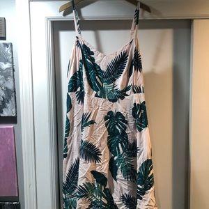 Palm print pink dress